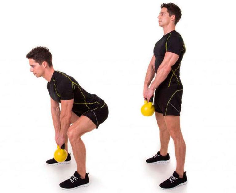 имеются упражнения для мышц с гирей в картинках геранью