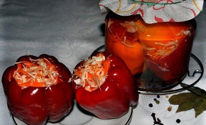 Как сделать маринованный перец фаршированный капустой