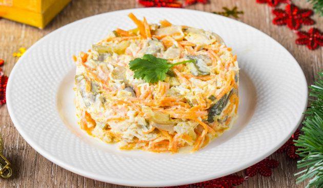 Оригинальный салат с корейской морковью и печенью