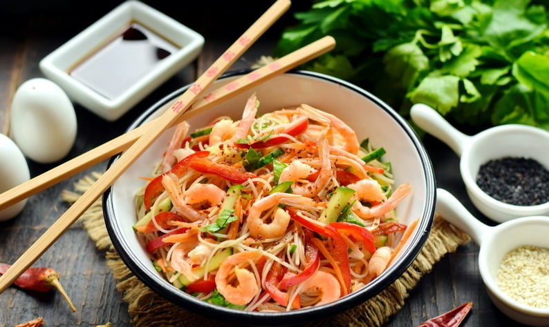 Фунчоза с креветками - рецепты с пошаговым приготовлением