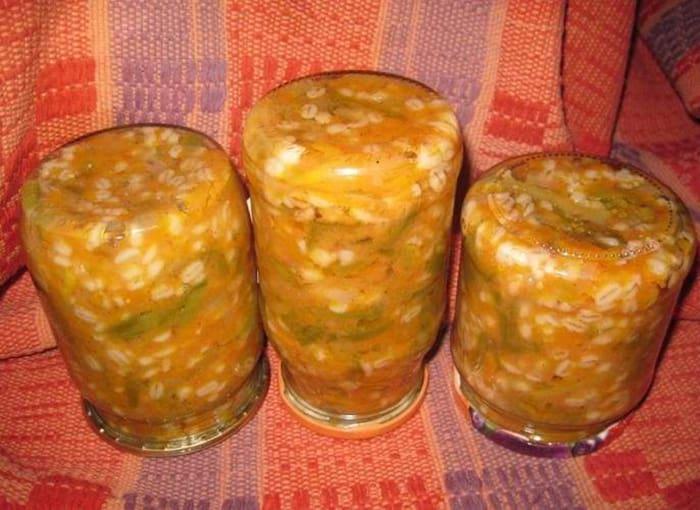 Салат с перловкой и овощами на зиму